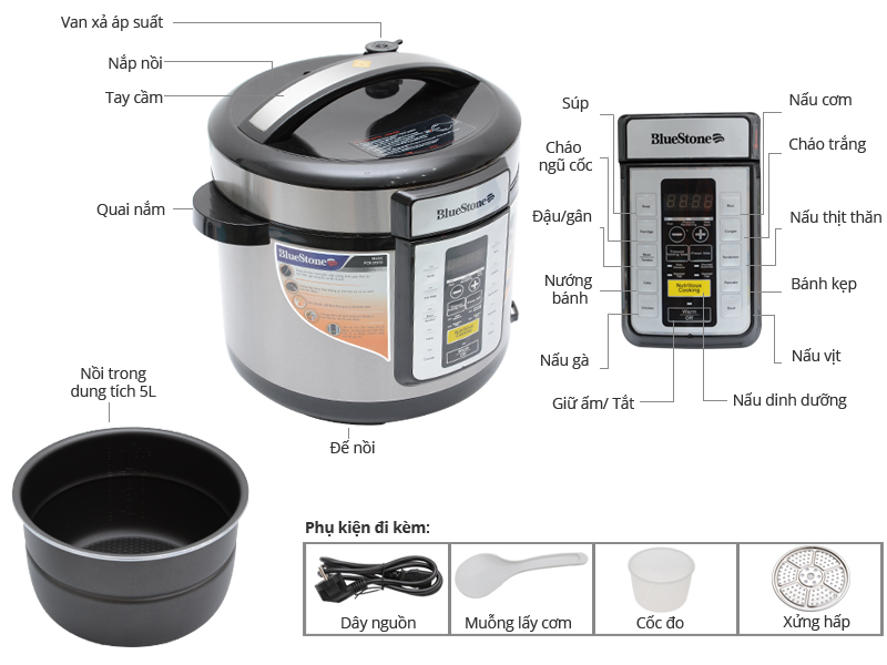 Nồi áp suất đa chức năng BlueStone PCb 5757D cao cấp với nhiều chức năng nấu khác nhau cùng với chế độ hẹn giờ lên đến 24 tiếng giúp bạn nấu nhiều món ăn ngon cho gia đình.