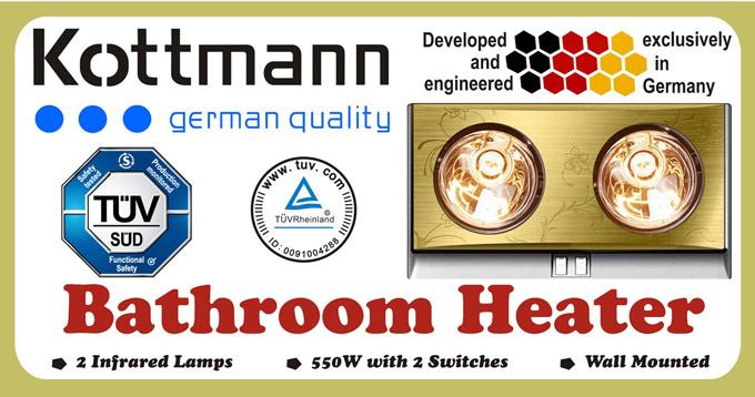 Đèn sưởi nhà tắm Kottmann K2B-G 2 bóng vàng giảm chói
