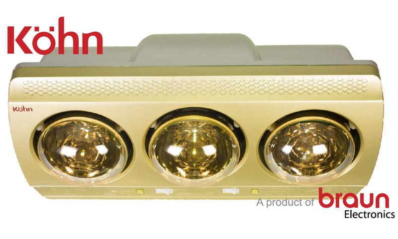 Đèn sưởi nhà tắm Braun Kohn KN03G 3 bóng không đốt oxi