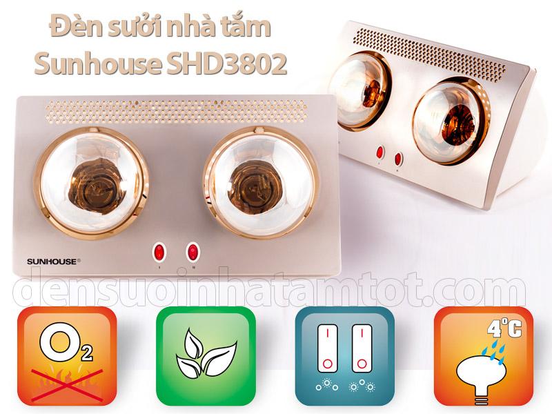 Đèn sưởi nhà tắm Sunhouse SHD-3802 không đốt cháy oxi