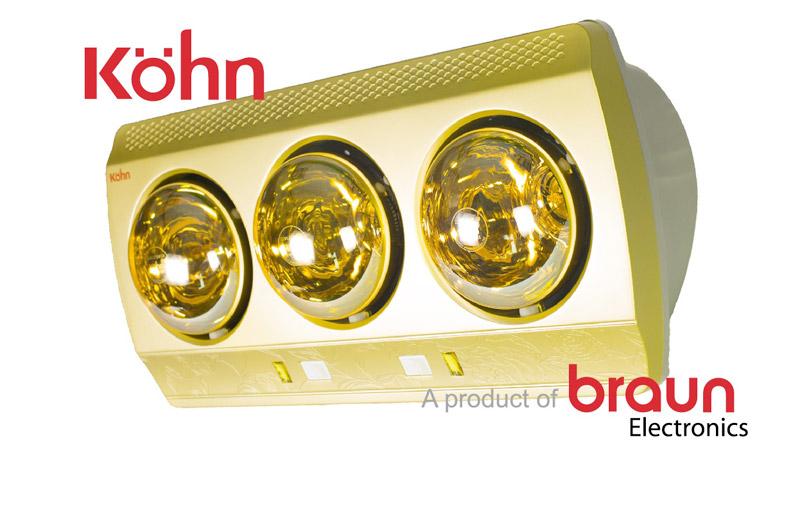 Đèn sưởi nhà tắm Braun Kohn KN03G 3 bóng vàng giảm chói
