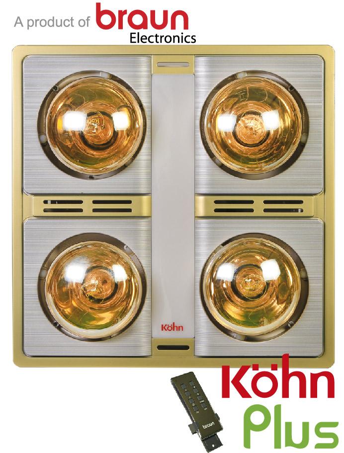 Đèn sưởi nhà tắm Kohn KN0-4GR âm trần có điều khiển