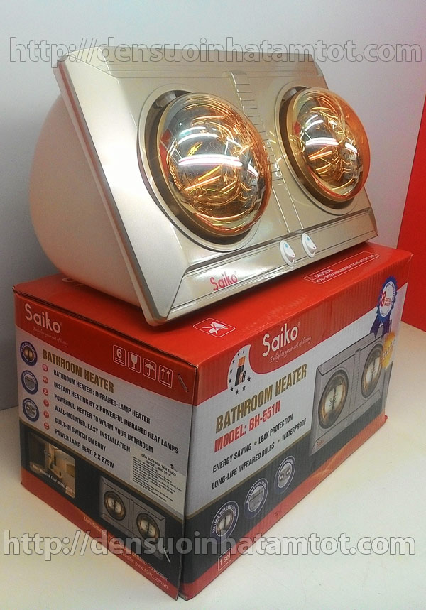 Đèn sưởi nhà tắm Saiko BH 551H bóng vàng giảm chói