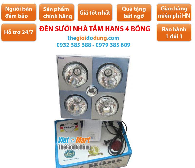Đèn sưởi nhà tắm Hans H4B110 4 bóng trắng âm trần