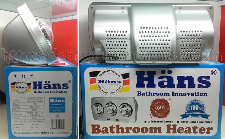 Đèn sưởi nhà tắm Hans H3B 3 bóng trắng