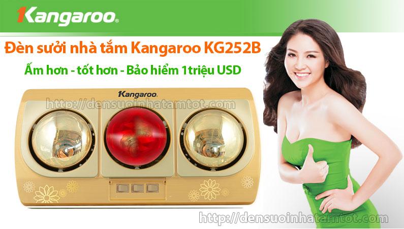 Đèn sưởi nhà tắm Kangaroo KG 252B 3 bóng vàng giảm chói
