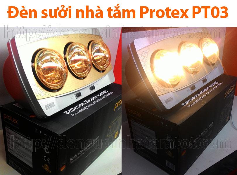 Đèn sưởi nhà tắm Protex PT03 3 bóng vàng giảm chói không đốt oxi