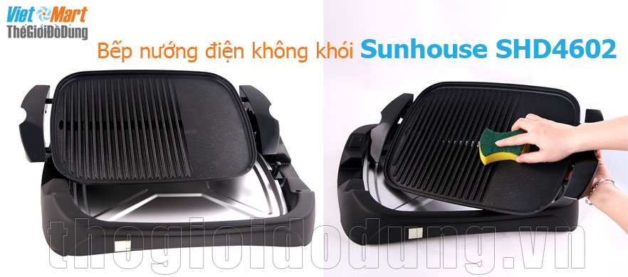 Bếp nướng điện không khói Sunhouse SHD-4602 dễ dàng vệ sinh