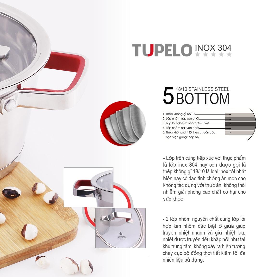 Bộ nồi Elmich inox 304 Tupelo 5 đáy quai cầm có silicon chống nóng
