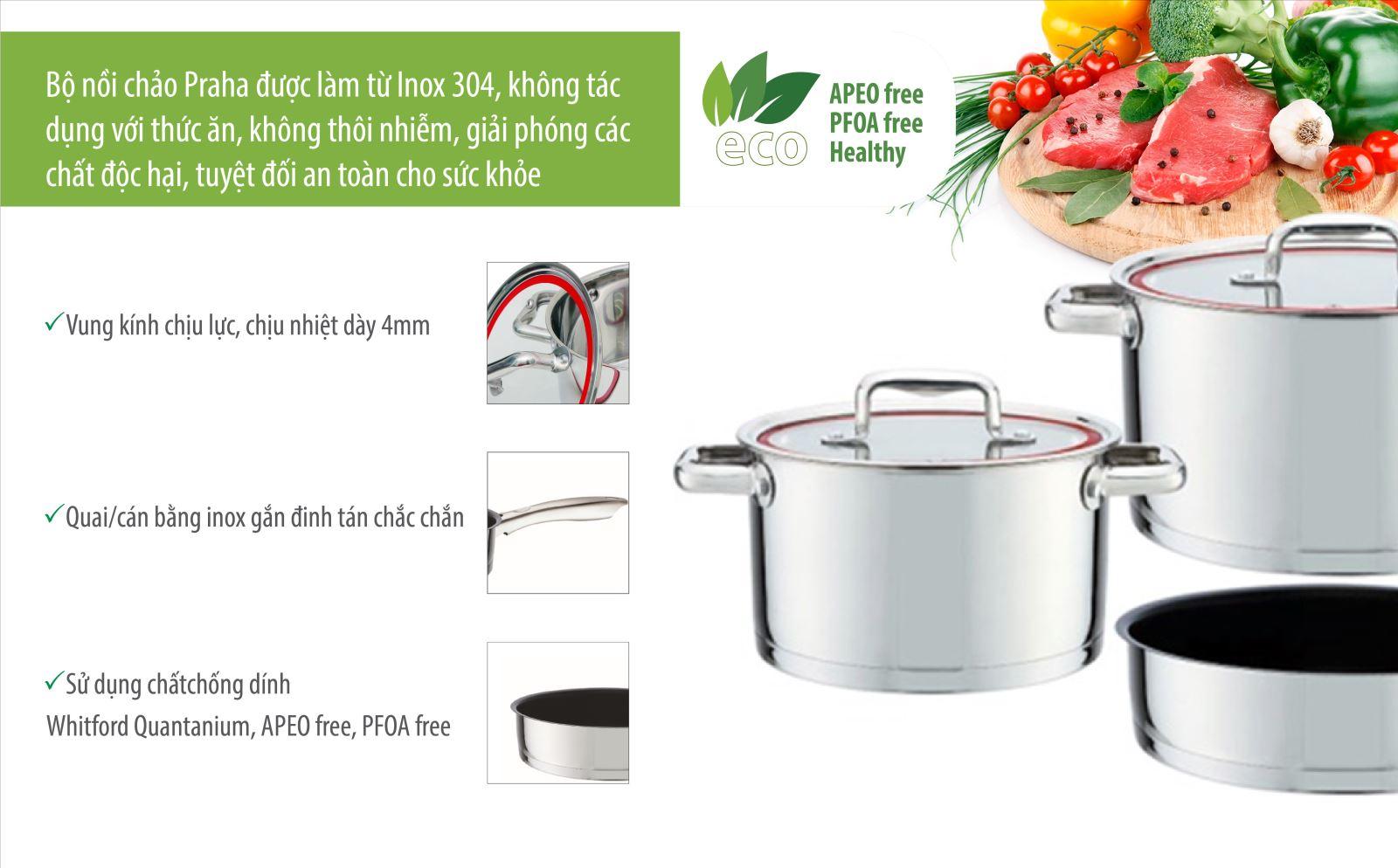 Bộ nồi chảo inox Elmich Praha EL-8668 đáy 5 lớp dùng đươc cho mọi loại bếp
