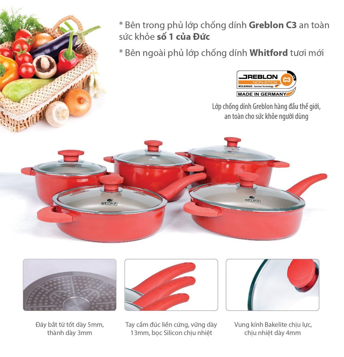 Bộ nồi chảo Elmich Vitaplus Fiore dùng cho bếp từ màu đỏ hấp dẫn