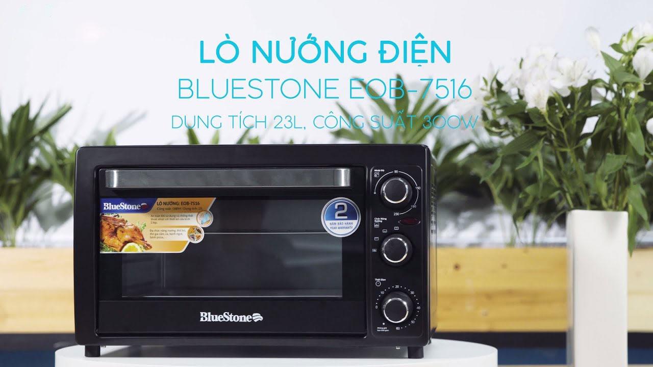 Lò nướng điện BlueStone EOB-7516 có dung tích 23l. công suất 1300W, cửa kính 2 lớp an toàn