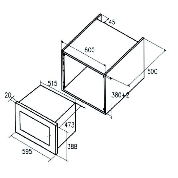 Lò vi sóng Cata MC-25D có thiết kế để âm tủ gọn gàng và sang trọng