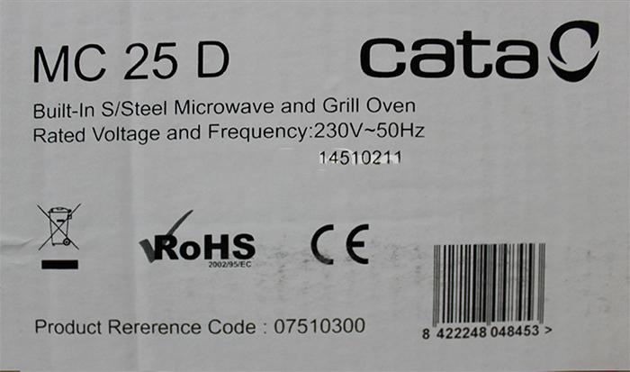 Lò vi sóng Cata MC-25D không những có thiết kế gọn, bắt mắt mà còn đạt đầy đủ tiêu chuẩn chất lượng về sức khỏe