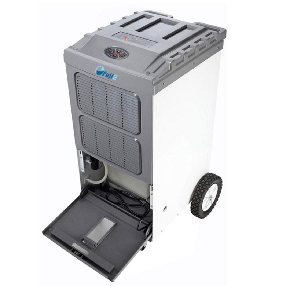 Máy hút ẩm Fujie HM-700DN có bánh xe di chuyển, tay đẩy, và chỗ cất dây tiện dụng