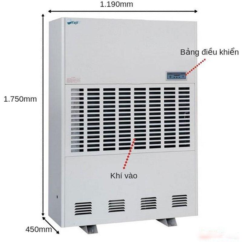 Kích thươc của máy hút ẩm Fujie HM-6480EB dùng công nghiệp công nghệ Nhật Bản