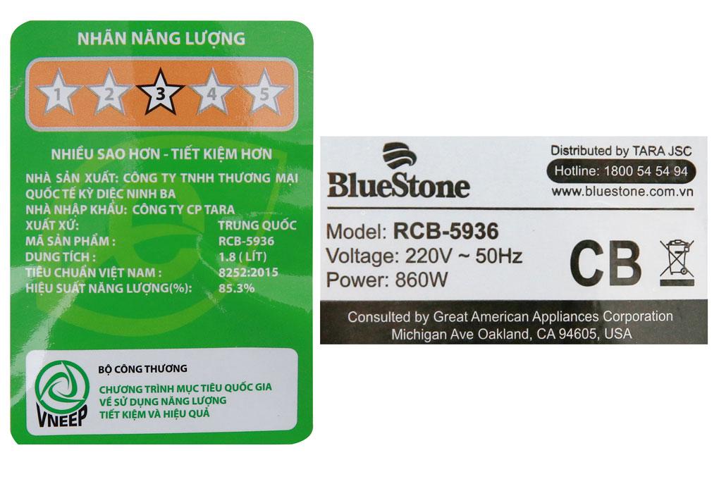 Nồi cơm điện BlueStone RCB-5936 thông số kĩ thuật