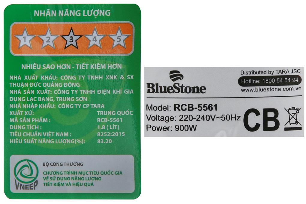 Nồi cơm điện BlueStone RCB-5561 thông số kĩ thuật