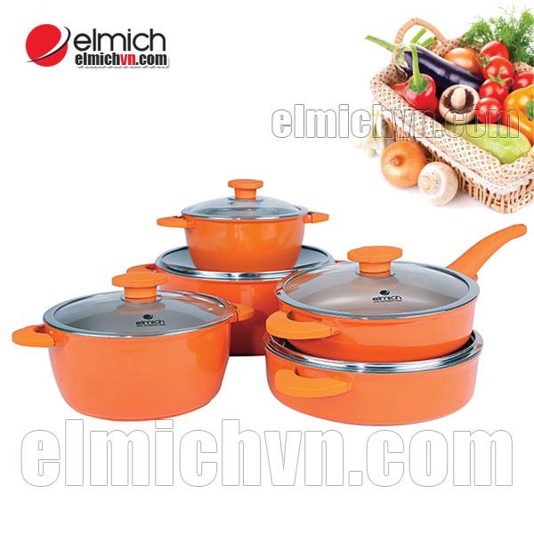 Bộ nồi chảo Elmich Vitaplus Fiore dùng cho bếp từ